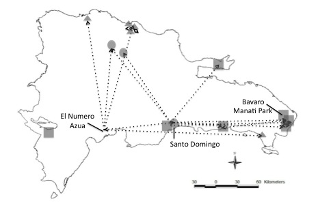 Figure 1. Captive Cyclura cornuta locations throughout the Dominican Republic as of 2013. Arrows indicate trafficking or movement patterns of captive individuals to the best of our knowledge. Circles indicate zoos, squares are large-scale facilities, and triangles are small-scale facilities.